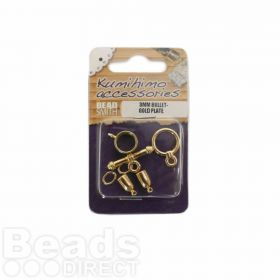 Kumihimo Findings Set 3mm Bullet Gold Plated