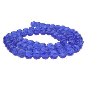CrystaLove™ crystals / glass / faceted round / 10mm / blue / transparent / 65pcs