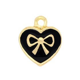 SweetCharm ™ Heart with a bow / pendant charms / 16x14x4mm / gold plated / black / 2pcs