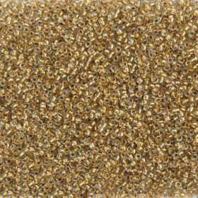 Toho Size 11 Round Seed Beads Inside Colour Crystal Gold Lined 7.5g TUBE