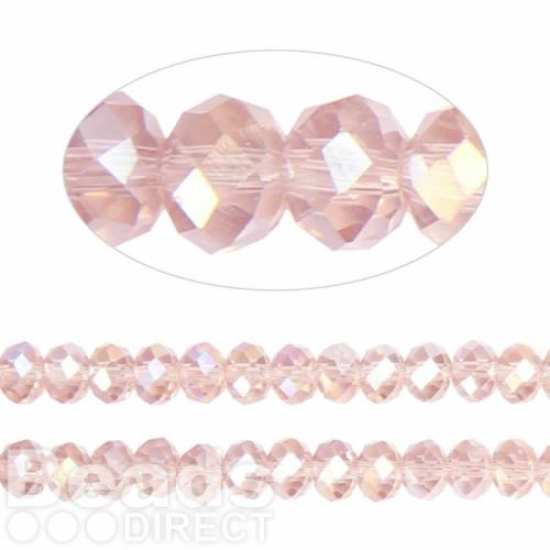 Essential Crystal Faceted 6mm Rondelle Pink AB 100pack
