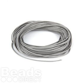 Shiny Coated Braiding Cord 1mm Grey 10m