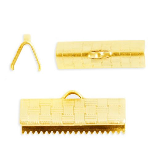Gold Plated Brass 19mm Cord/Ribbon Ends Pk2