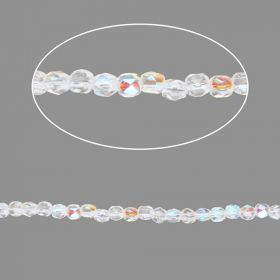 Crystal Clear AB Czech Glass Fire Polish Beads 2mm Pk100