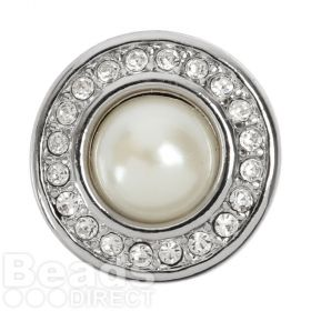 Silver Plated Interchangeable Snap On Disk with Crystals and Pearl Centre 20mm Pk1