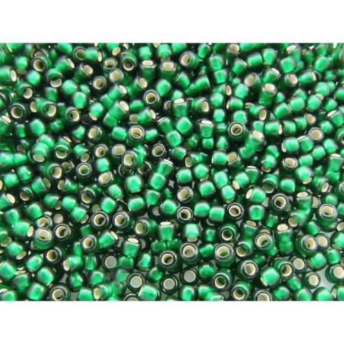 TOHO™ / Round 11/0 / Silver Lined Frosted / Green Emerald / 10g / ~ 1100pcs