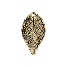 Leaf / charm pendant / 25x14x3.5mm / antique gold / 2pcs