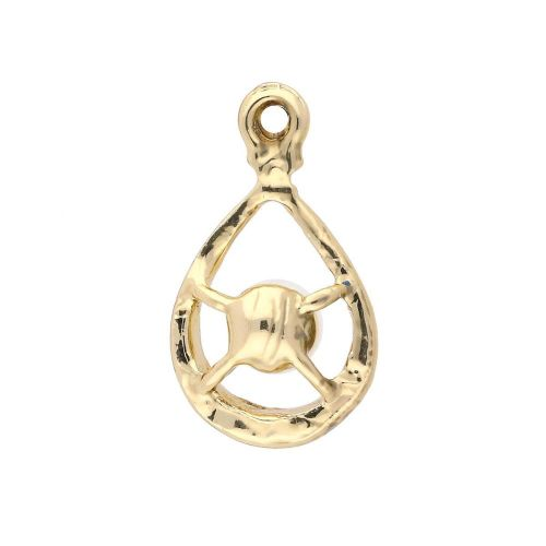 Glamm™ / tear drop with pearl / charm pendant / 7 zircons / 23x12x7mm / gold plated / 2pcs