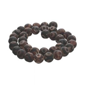 Tibetan agate / round / 10mm / dark brown / 38pcs
