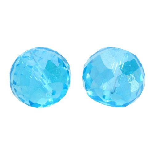CrystaLove™ crystals / glass / faceted round / 8x10mm / turquoise / transparent / iridescent / 6pcs
