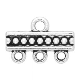 Multi strand cord ends / 3 loops / 10x15x2mm / silver / 2mm hole / 4pcs