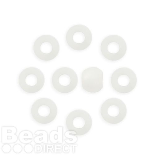 White Matte Frosted Resin Polaris Beads 10mm Large Hole 5mm Pk10