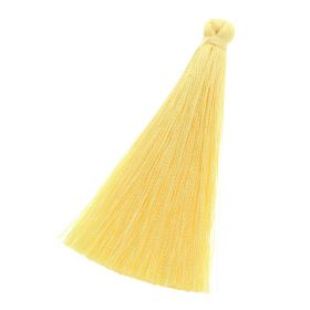 Tassel / viscose thread / 65mm / width 7mm / yellow / 1pcs