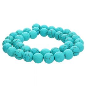 Howlite / faceted round / 12mm / turquoise / 30pcs