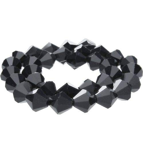CrystaLove™ crystals / glass / bicone / 4mm / black / lustered / 110pcs
