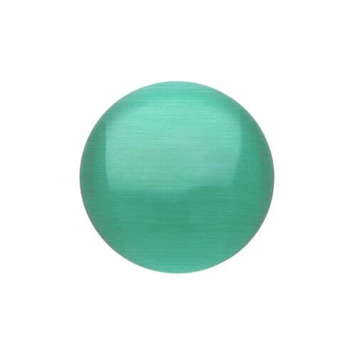 Cat's eye (synthetic) / cabochon / round / 12x12x2.5mm / green / 4pcs