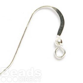 Sterling Silver Lightweight Flattened Earwires with Ball 1xPair