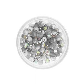 Firepolish™ / 4mm / Crystal Rainbow / Etched Silver / 40pcs