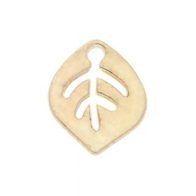 Leaf / charm pendant / 9x7x1mm / light gold / 4pcs