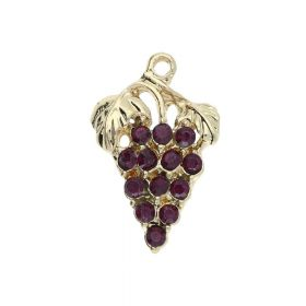 Glamm ™ Grapes / charm pendant / with zircons / 23x15x3mm / gold plated / Tanzanite / 1pcs
