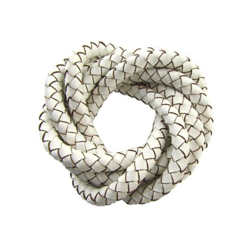 Leather cord / natural / round / braided / 6mm / white / 1m