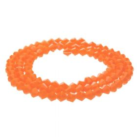 CrystaLove™ crystals / glass / bicone / 4mm / orange / lustered / 110pcs