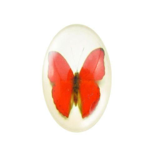 Glass cabochon with graphics oval 18x25mm PT1520 / pink / 2pcs