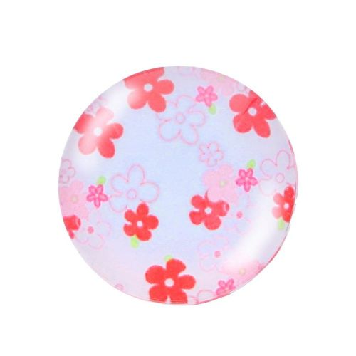 Glass cabochon with graphics K25 PT1305 / white-red / 25mm / 2pcs