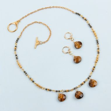 Tiger Eye Droplet Jewellery Set