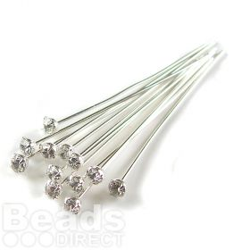 17704 Swarovski Silver Plated Headpins with Clear Crystal 0.5x39mm Pk12