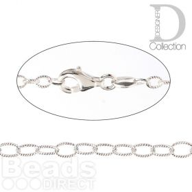 Sterling Silver 925 Fancy Oval Chain 2.5mm by 3mm with Lobster Clasp 60.9cm