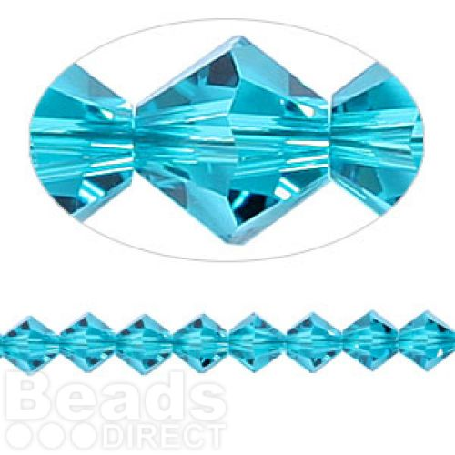 5328 Swarovski Crystal Bicones Xillion 6mm Blue Zircon Pk24