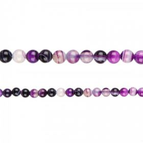 "Purple Striped Agate Round Semi Precious Beads 6mm 15"" Strand"
