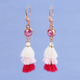 Peony Pink Tassel Earrings made with Swarovski - Makes x1 Pair
