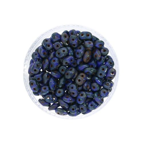 SuperDuo™ / glass beads / 2.5x5mm / Opaque Picasso / Blue / 10g / ~140pcs