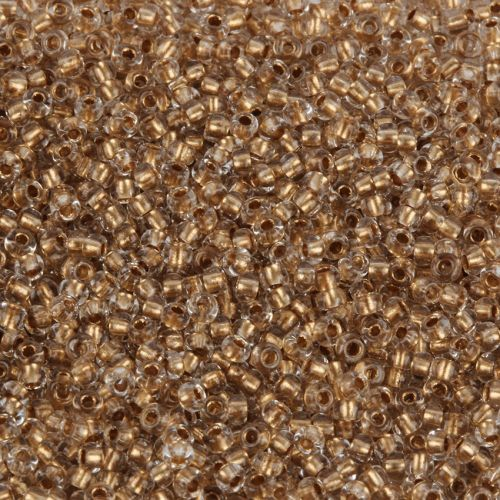 Preciosa Size 10 Round Seed Beads Gold Lined Crystal 50g