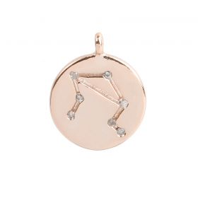 Rose Gold Plated Libra Constellation Zodiac Charm 11mm Pk1
