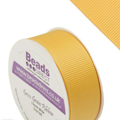 X-Yellow Gold Grosgrain 19mm Ribbon Sold on a 5 Metre Reel