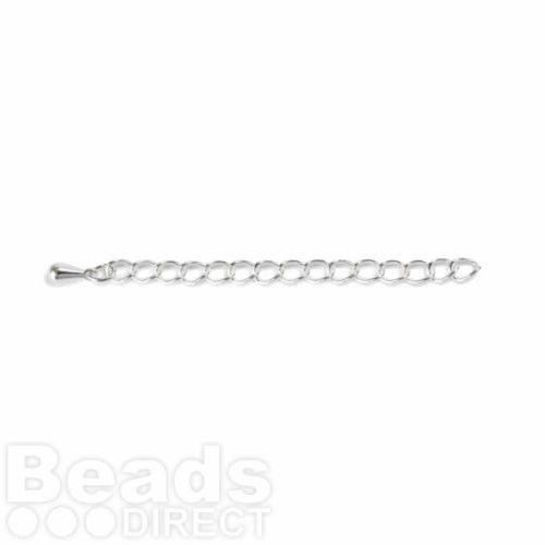 Silver Plated Chain Extension 4x57.1mm with Teardrop Pk6