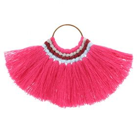 Fuchsia Cotton Fan Tassel Charm on Hoop 59x77mm Pk1