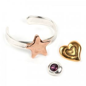 Silver Bangle Kit with Glue, Bag & 3 Pins - Star, Heart, Crystal