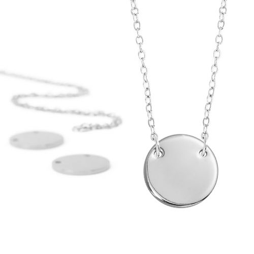 ImpressArt Personal Impressions Silver Plated Circle Connector Necklaces Pk5