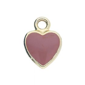 SweetCharm™ heart / pendant / 14x11x0.5mm / KC gold Pink / 2pcs