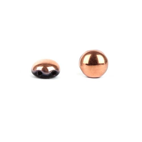 X-Preciosa Pressed Glass Candy Twin Hole Beads Black/Copper 8mm Pk30