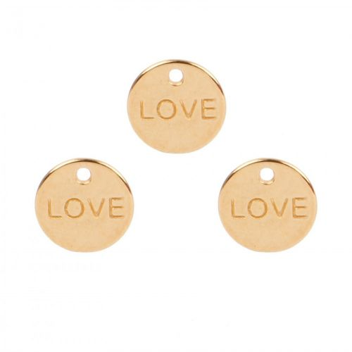 Gold Plated Zamak Small 'Love' Coin Charm 10mm Pk3