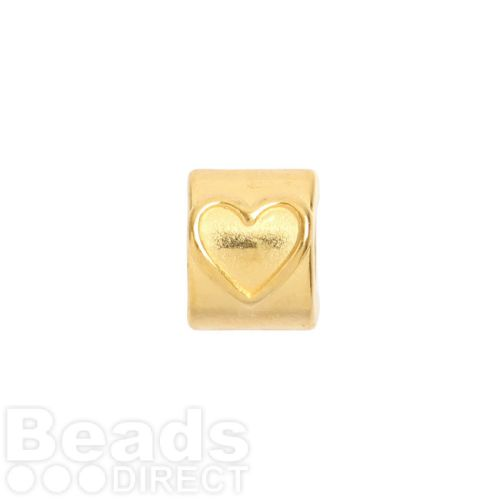 X-Gold Plated Zamak Heart Design Tube Bead 8x10mm Hole is 5mm Pk1