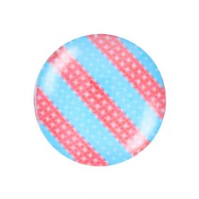 Glass cabochon with graphics K12 PT1375 / pink-blue / 12mm / 4pcs