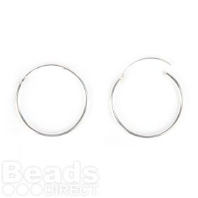 Sterling Silver 925 Hoop Earring Base 1.5x25mm 1xPair