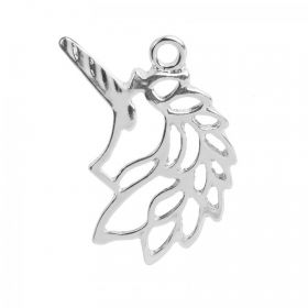 Silver Plated Origami Unicorn Head Charm 18x30mm Pk1