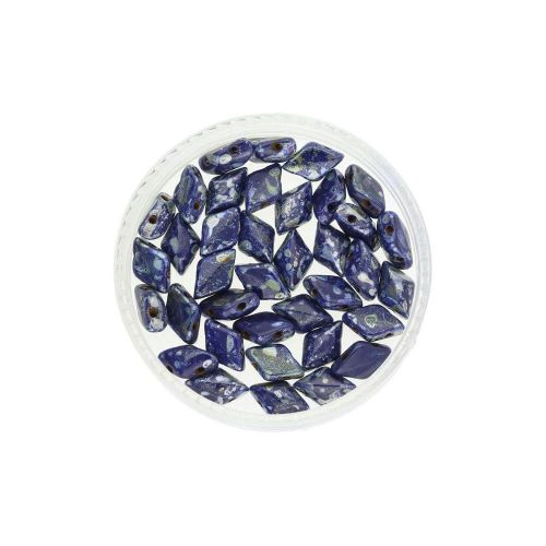 GEMDUO™ / 8x5mm / Silver Picasso / Navy Blue / 5g / ~35pcs